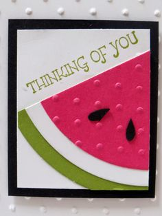 I'm back to share another watermelon project with you today!but stinkin' adorable. I am defin. Cricut Cards, Stampin Up Cards, Card Tags, Cool Cards, Kids Cards, Creative Cards, Greeting Cards Handmade, Scrapbook Cards, Homemade Cards