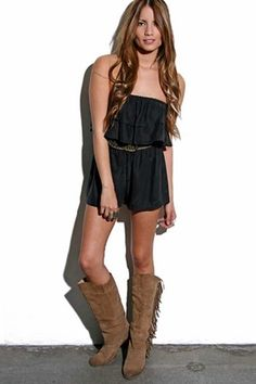 Country meets Native American. Tall boots with a romper are odd, but it works here.  britpaige.com