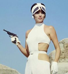 Elsa Martinelli in The 10th Victim (1965) ●● fuzz sez:  Back then they didn't have GSR isssues with white gloves, and the necessity of breathing wa overrated...!●●