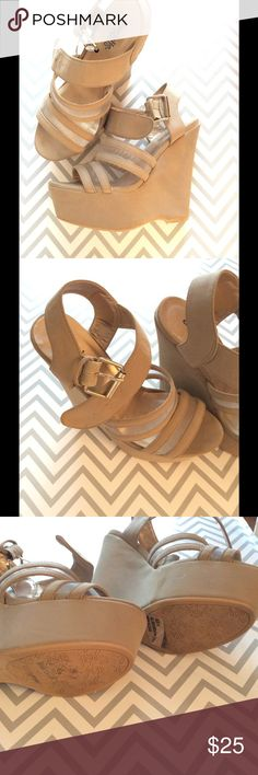 """🌷Classy Charlotte Russe Suede-like Wedge Sandals These Classy suede-like heels are perfect paired with a dress or jeans. They are a great beige/ nude color that goes with everything, like your nude pumps! Gently used. Size 6. Platform measures 2"""" but heel measures 5"""". A little wear on the soles, but the shoes themselves are very clean. A tiny scuff on the toe of the left shoe.                                        Thank you for looking! Please make an offer or go ahead and bundle…"""