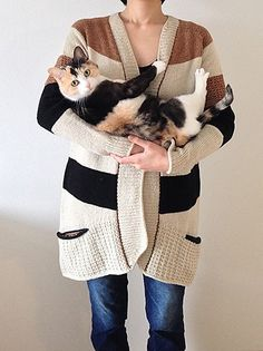 Found on Ravelry... I love how she's made her cardi to match her cat! http://www.ravelry.com/projects/SiO2/bluesand-cardigan