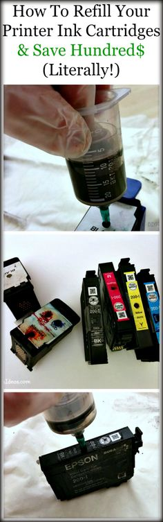 HOW TO REFILL YOUR PRINTER INK CARTRIDGES AND $AVE HUNDRED$ ...LITERALLY!