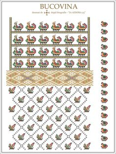 Folk Embroidery, Embroidery Patterns, Knitting Patterns, Cross Stitch Borders, Cross Stitch Patterns, Beading Patterns, Romania, Traditional, Quilts
