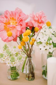sweet centerpieces, photo by Lara Hotz http://ruffledblog.com/sun-studios-australia-wedding #weddingideas #flowers