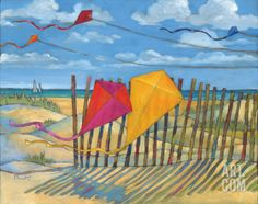 Beach Kites Yellow Art Print by Paul Brent at Art.com