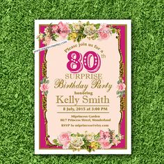 Shabby Chic Birthday Invitation for any age 16th by miprincess