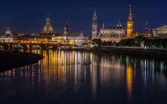 Lataa kuva Dresden, illalla, kaupungin valot, Saksa, Dresden Panometer