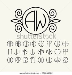 Set template letters to create monograms of two letters in scribed. Set template letters to create monograms of two letters in scribed in a circle in Art Nouveau style Stock Vector – 34556076 Art Deco Logo, Art Deco Monogram, Monogram Design, Art Logo, Monogram Initials, Monogram Letters Font, Monogram Stencil, Monogram Maker, Diy Monogram
