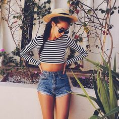 hat, stripe crop top (topshop?), Topshop/american apparel/levi high waist mid blue shorts, sunglasses - summer