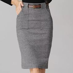 Vintag wool skirts for Women high waist Skirt front pencil Split with frames 2016 for Women fashion office wear Midi Skirt Women – Work Fashion Office Fashion Women, Work Fashion, Fashion Outfits, Womens Fashion, Business Casual Dresses, Casual Skirt Outfits, Beige Outfit, Office Skirt, Types Of Skirts
