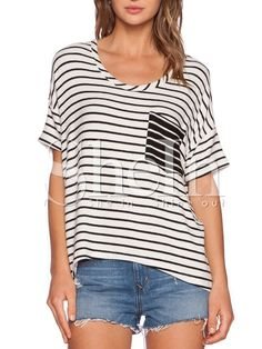 Shop White Short Sleeve Striped Pocket T-shirt online. SheIn offers White Short Sleeve Striped Pocket T-shirt & more to fit your fashionable needs.
