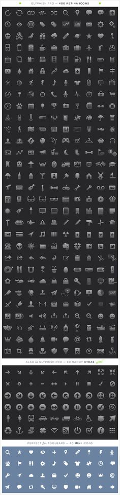 Glyphish Iconset - 400 amazing Retina-compatible icons for iOS, for iPad and iPhone. Mac apps too! #iconservice #free #pay