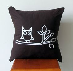 Unique Screen Printed Owl Pillow Cover 16x16 by AnyarwotDesigns, $20.00