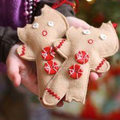 half eaten gingerbread man felt ornaments