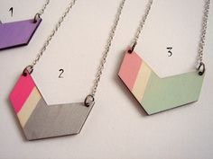 Chevron Necklace, Wood Geometric Necklace, Hand Painted  Wood Necklace,Geometric Jewelry. $14,00, via Etsy.