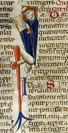 This is repinned and unfortunately no provenanvce was given -- only the date 1440 which looks plausible -- is he reading a dirty book?!
