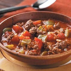 Stuffed Pepper Soup Recipe from Taste of Home -- shared by Hoss's Steak and Sea House, Krista Muddiman, Meadville, Pennsylvania