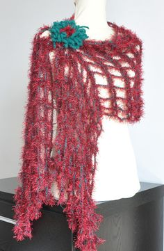Cozy Net  Green and Red  Crochet Skinny Scarf/ Shawl by jennysunny, $24.00