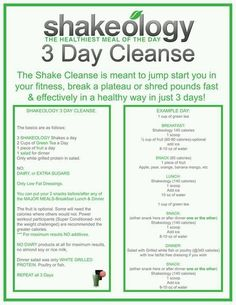 Shakeology 3 Day Cleanse ~ designed to be a performance cleanse done in combination with your workouts.