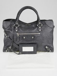 31f14252c08d Balenciaga Gris Fossile Lambskin Leather Giant 12 Silver Motorcycle City Bag