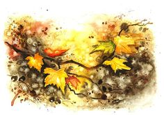 Autumn Leaves Art Print, Autumn Leaf Watercolor Painting, Autumn Fall, Wall Art, Home Decor