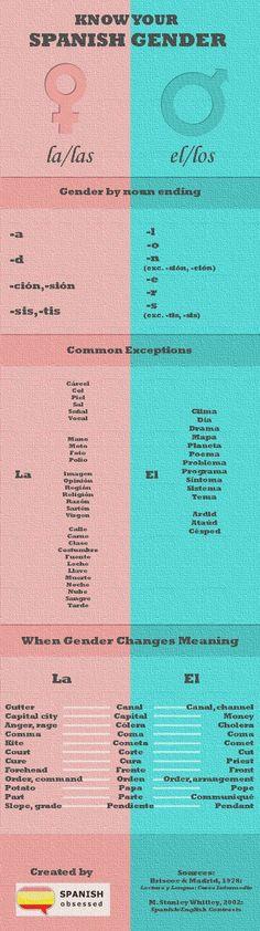 Spanish Gender - 123 Spanish Tutor - Spanish Lessons Online with Native Tutors #spanishnouns