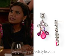"""Mindy wore these pink crystal drop earrings in """"How To Lose A Mom In 10 Days""""!"""