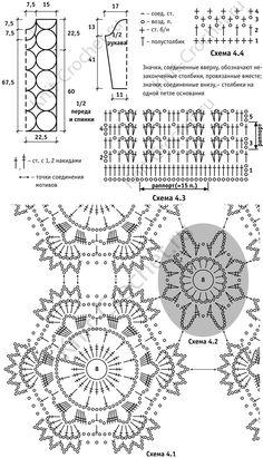 Patrón, los patrones de circuitos con una descripción del tamaño de ganchillo túnica 46 de motivos circulares.