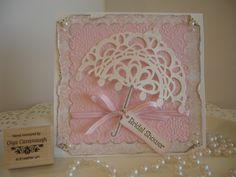 Bridal Shower card, made with Stampin Up Large Doily Die.