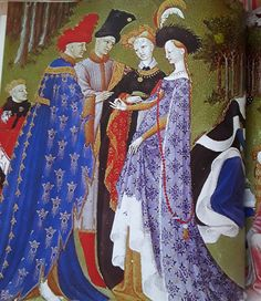 Known simply as The Book of Hours this richly decorated book was commissioned by John, Duke of Berry, between 1412 and The page here represents April, and shows a young couple exchanging engagement rings. Medieval Life, Medieval Fashion, Medieval Art, Age Of Discovery, Classical Antiquity, Late Middle Ages, Book Of Hours, Illuminated Manuscript, 15th Century