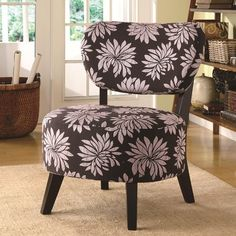 Accent Seating Dark Floral Accent Chair w/ Padded Seat