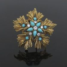 CARTIER 1950  France Diamond & Turquoise Wreath Design 18K Yellow Gold Brooch
