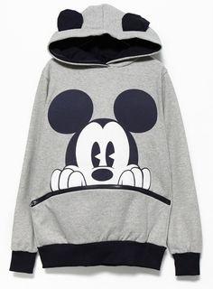Sweat-shirt à capuche et à motif Mickey -Gris Noir  EUR€19.64