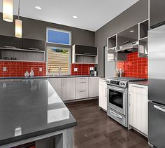 Lush Tomato 3x6 Red Glass Subway Tile Kitchen Backsplash Installation
