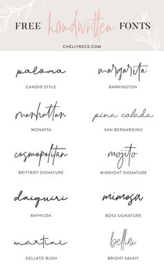 chellyreckcom handwritten scriptfonts freefonts favorite design fonts part my 2 My Favorite Handwritten Fonts Part 2 You can find Script fonts and more on our website Calligraphy Fonts, Typography Fonts, Hand Lettering, Modern Calligraphy, Block Lettering, Typography Tattoos, Modern Script Font, Lettering Ideas, Text Fonts