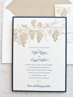 Vineyard Wedding Invitations Rustic Wine Country Wedding