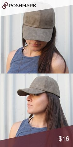 Suede Hat - Olive Olive green(ish) suede hat - great quality and fit. Has pull closure back as pictured . Accessories Hats