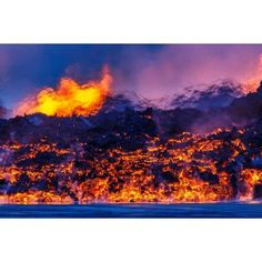 Glowing lava from the eruption at the Holuhraun Fissure near the Bardarbunga Volcano Iceland Canvas Art - Panoramic Images (36 x 12)