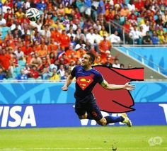 Robin van Persie virals have flying Dutchman as Superman, WWE . World Cup 2014, Fifa World Cup, Lionel Messi, Spain Vs Netherlands, Most Hilarious Memes, Van Persie, Flying Dutchman, Superman, Jokes