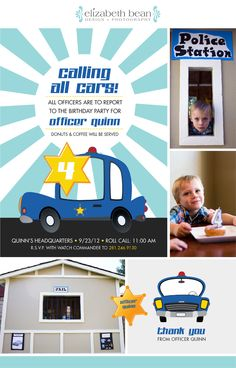 Police Themed Birthday Party      http://www.emadesign.net/blog/kids-police-themed-birthday-invitations