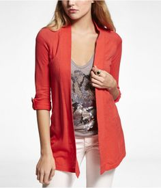 Express Womens Rolled Sleeve Coverup Sweater Sunset Coral, Small