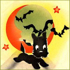 Vintage Halloween Scottie Dog Illustration  Scottish Terrier