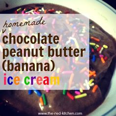 Homemade Chocolate Peanut Butter Banana Ice Cream (made in your regular old blender)    --Uses 4 regular ingredients you already have!--    www.the-red-kitchen.com
