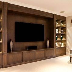 - TV Unit Models & Ideas - If you've got a wall big enough why not fill it with this show stopper of a TV u. If you've got a . Tv Cabinet Design, Tv Wall Design, Cozy Family Rooms, Family Room Design, Living Room Tv Cabinet, Tv Wall Decor, Wall Tv, Wall Wood, Living Room Tv Unit Designs