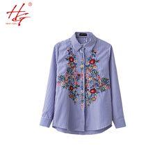 A12 2017 HG marca mulheres blusa bordado padrões listrados mangas compridas camisa blusa feminina rose impresso em Blusas & Camisas de Das mulheres Roupas & Acessórios no AliExpress.com | Alibaba Group