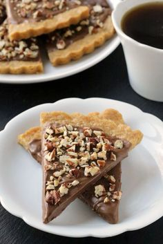 Gluten-Free Shortbread is drenched in chocolate and sprinkled with pecans. So delicious! All-purpose flour option included.