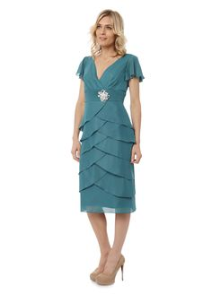 BJC - mother of the bride - aqua chiffon layered dress with flutter sleeves and matching wrap