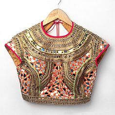 Absolutely Stunning Red & Gold Mirror work saree or sari #Blouse By Nidhika Shekhar. Indian fashion.