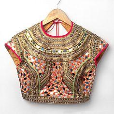 Absolutely Stunning Red & Gold Mirrorwork #Blouse By Nidhika Shekhar // Annie & Amrita