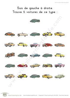Dans les fiches de travail « Suivi de voiture de base » l'élève doit trouver toutes les voitures identiques à l'exemple en haut de la page.